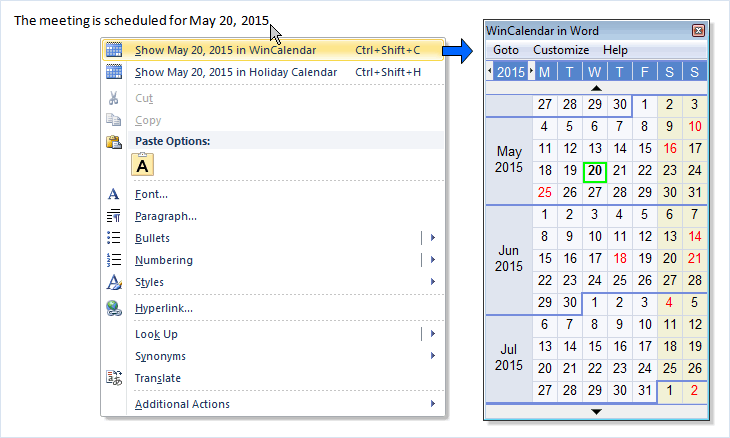 calendars for microsoft word