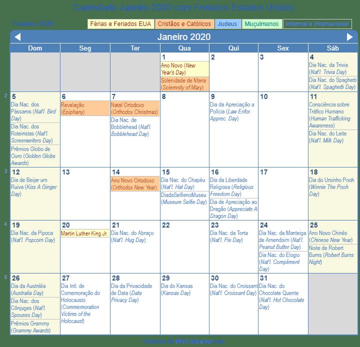Calendario 2020 Pdf Brasil.Calendario Janeiro 2020 Com Feriados Estados Unidos
