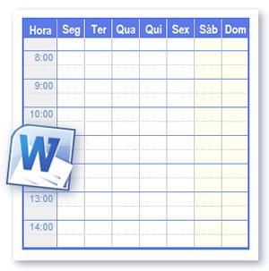 Modelos Horário Para Imprimir em Formato do Word e Open Office